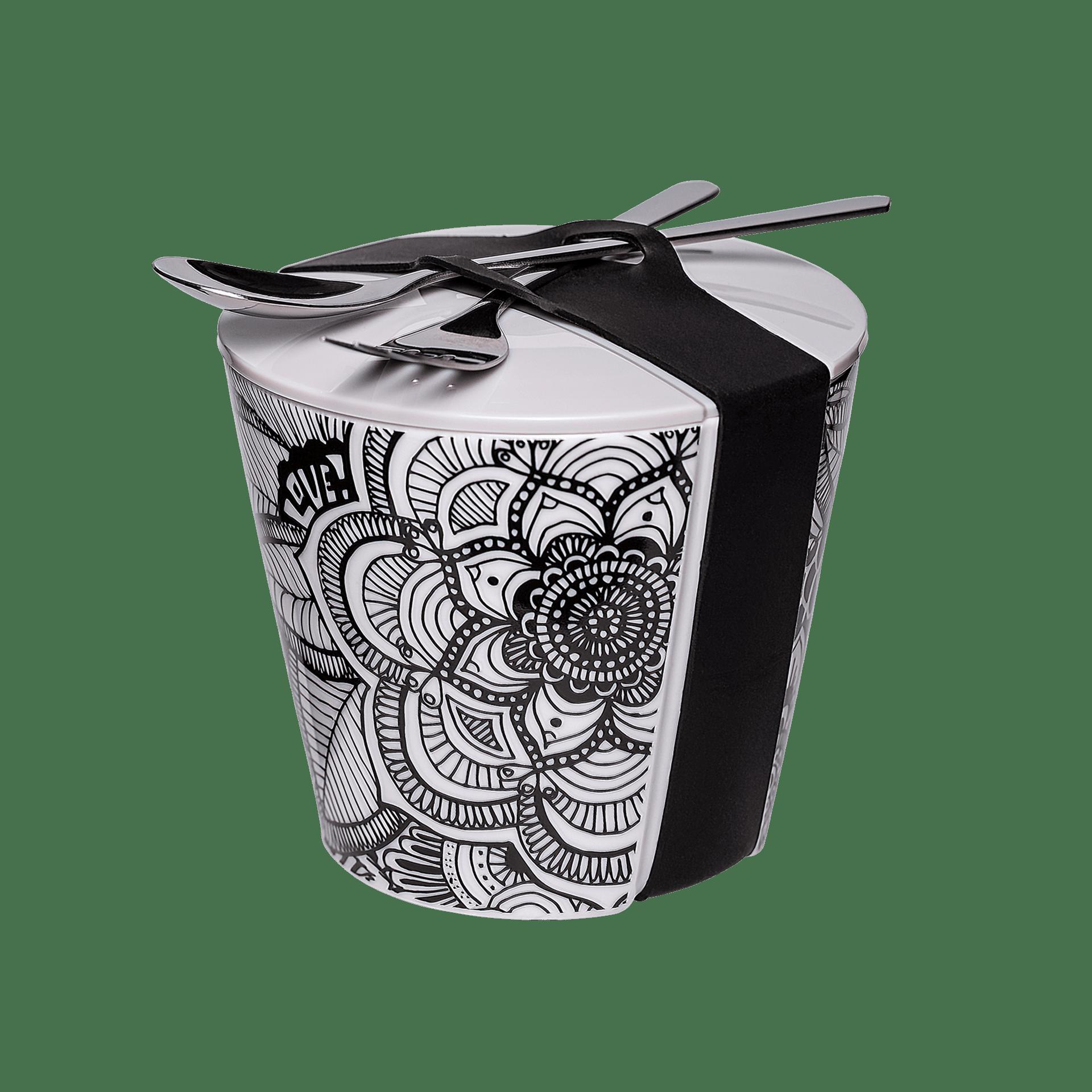 porzellan-snack-becher mit elegantem mandala design 550ml