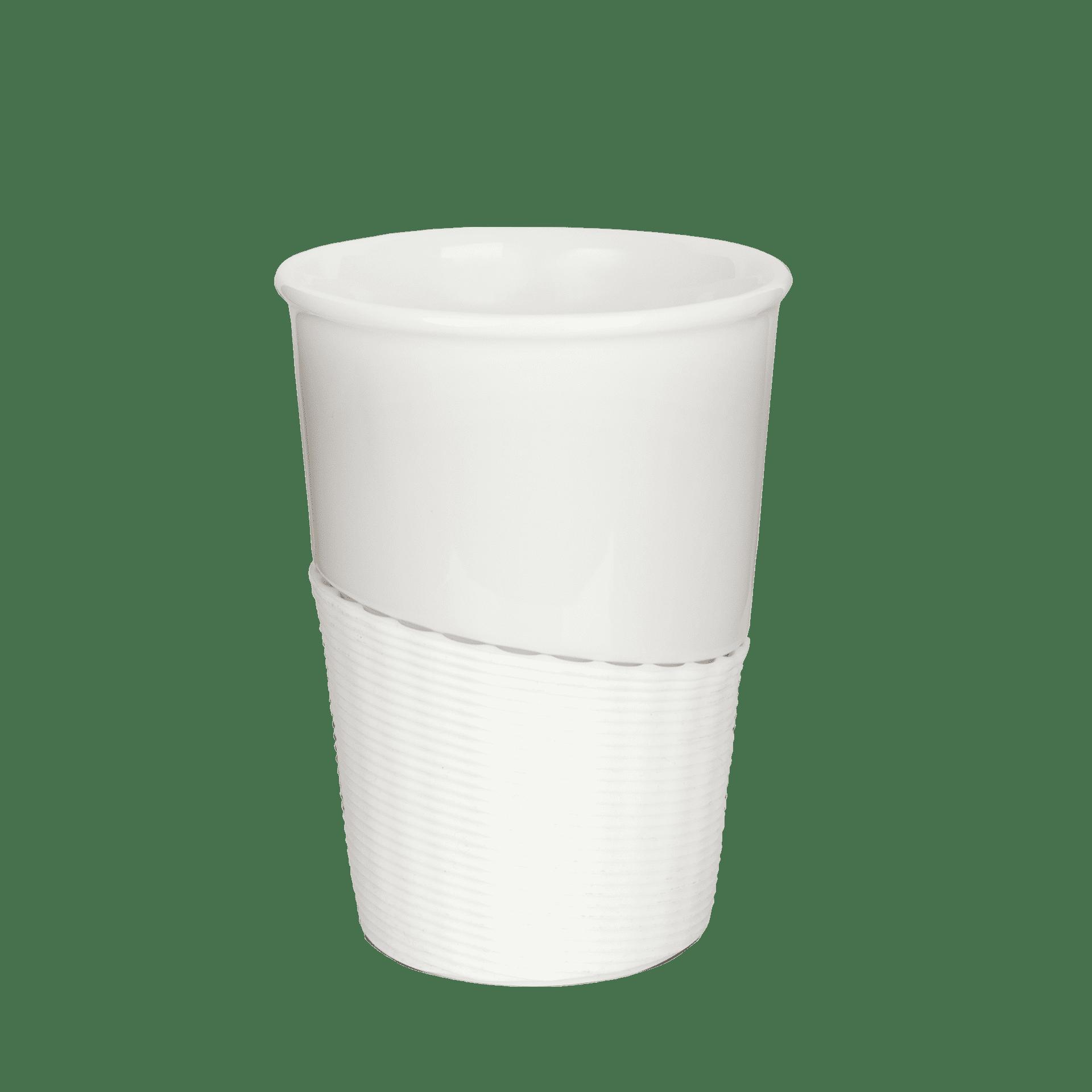 Kaffeebecher to go mit Banderole und Deckel