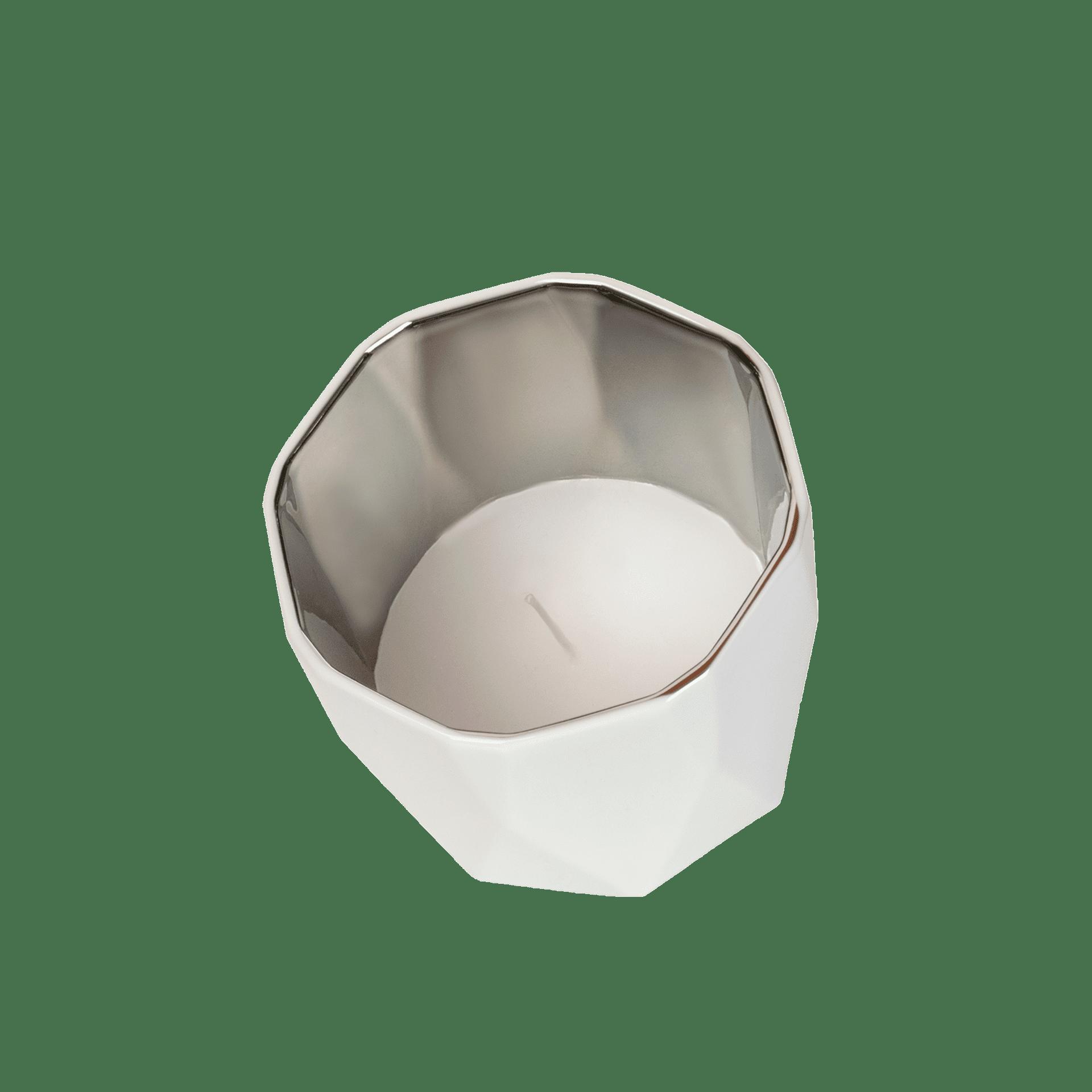 Tischlicht in Weiß mit Silber spiegelnd - Mahlwerck Shop