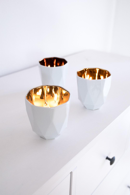 Tischlichter aus Porzellan mit Gold, Silber oder Kupfer - Mahlwerck Online Shop