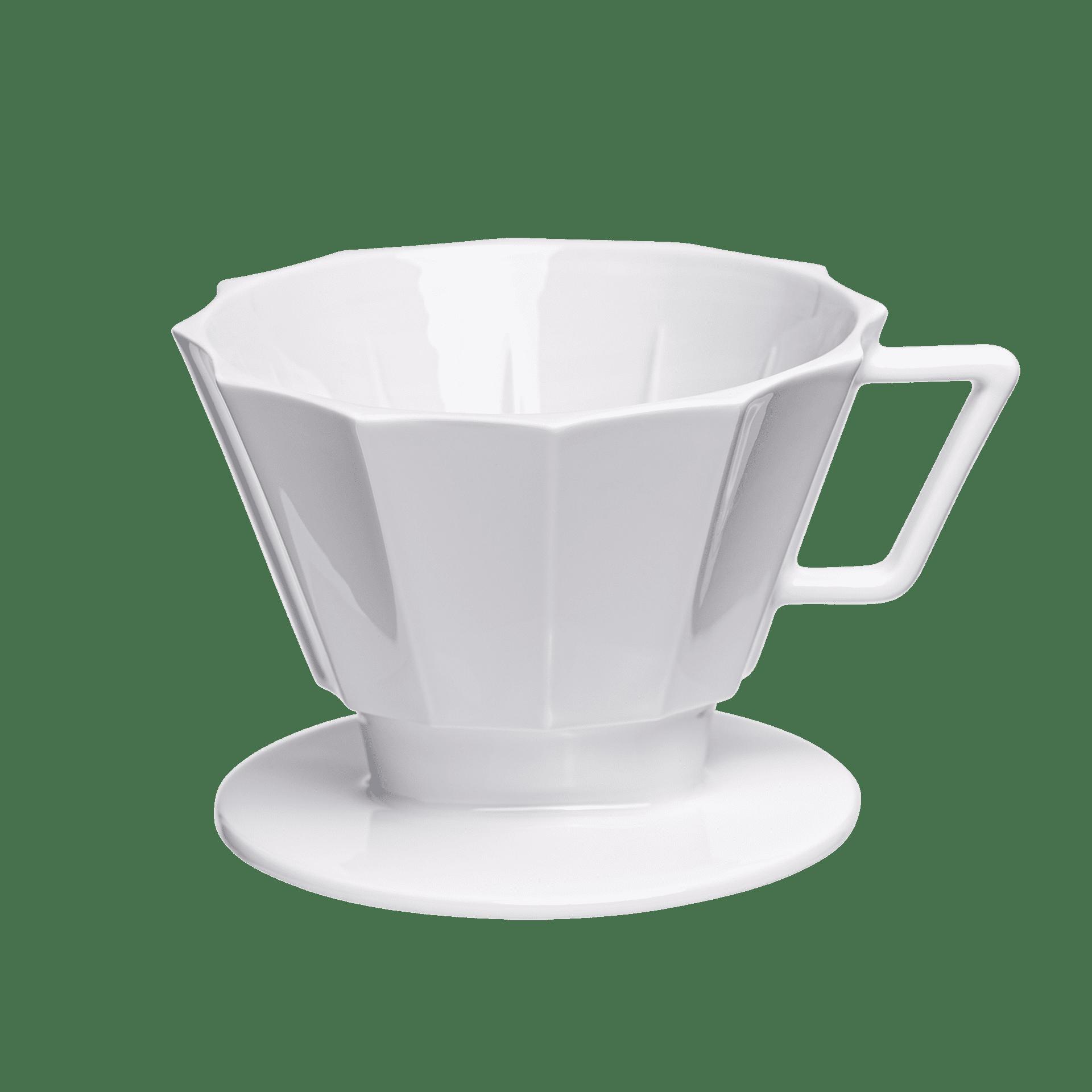 weisser filter-kaffee mit eckiger form  groesse 4 1x4