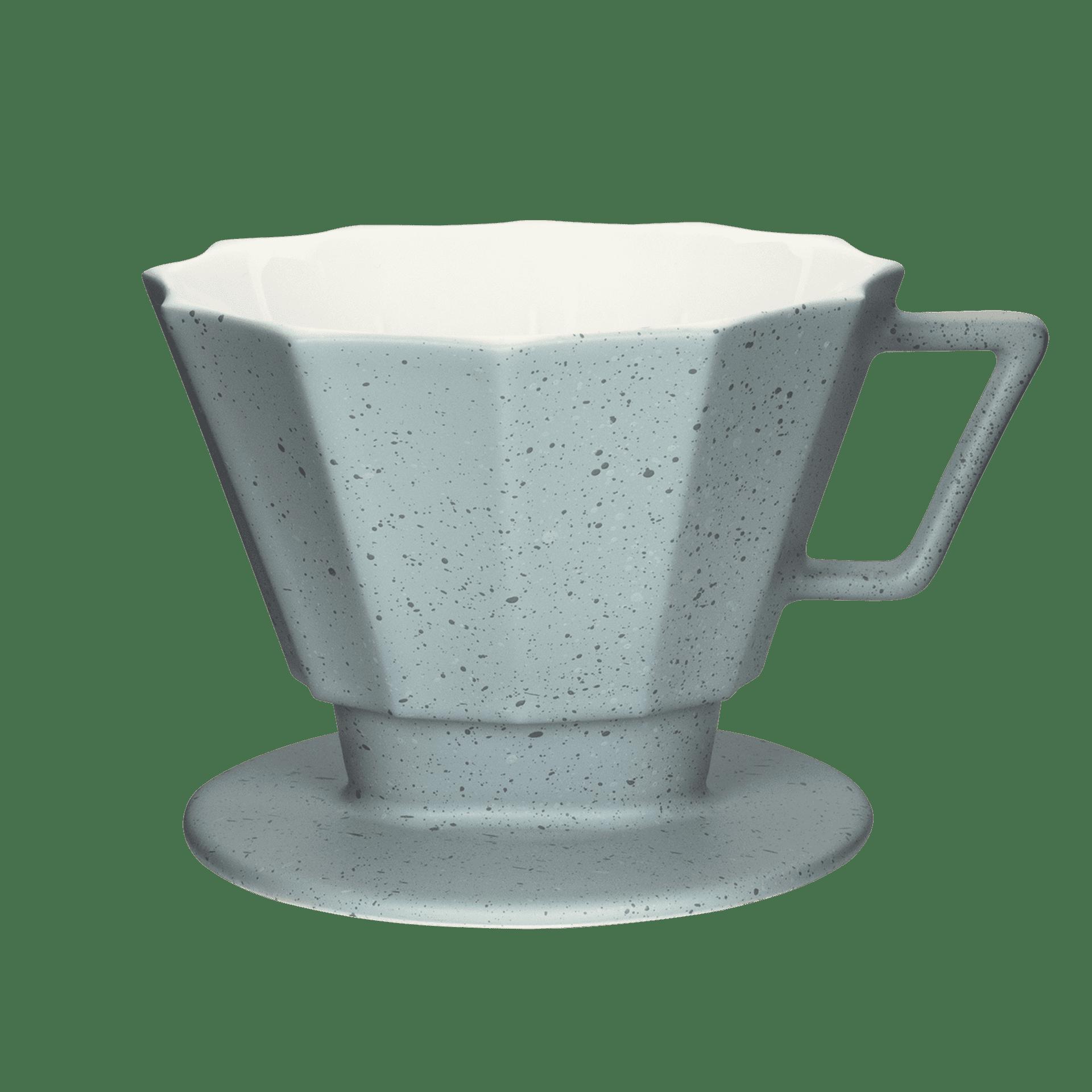 abstrakter und eckiger kaffee-filter in grau-matt groesse 4 1x4