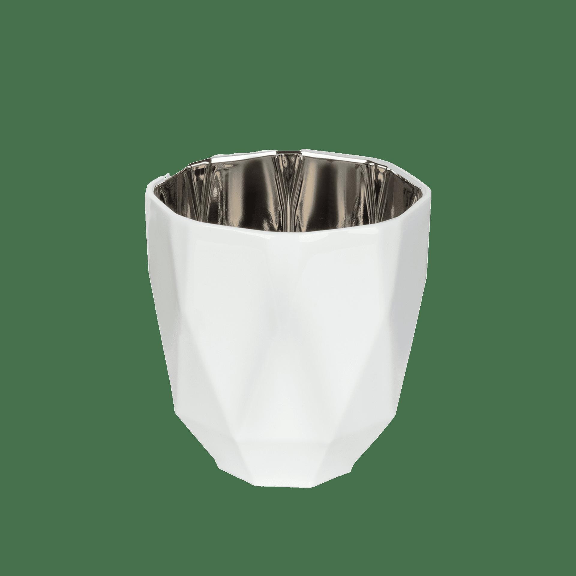 Porzellan Windlicht in Weiß mit Silber - Mahlwerck Shop