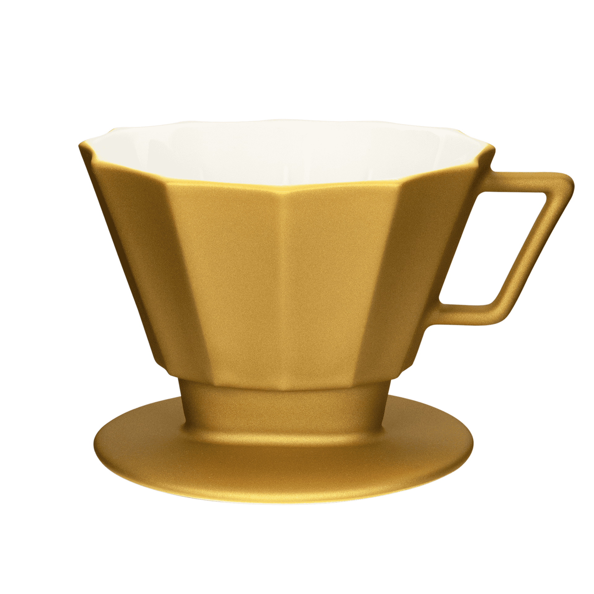 stylisher kaffee-filter im metallic look groesse 4 1x4