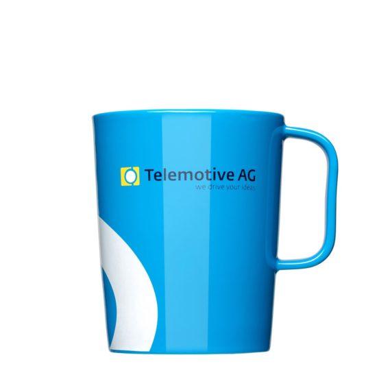 Tasse vollflächig bedruckt mit Logo blau - Werbeartikel Mahlwerck Porzellan