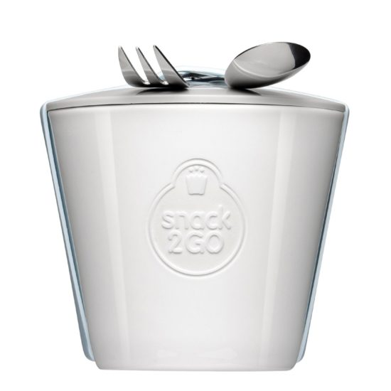 Snack2Go mug with lid and engraving as a promotional item