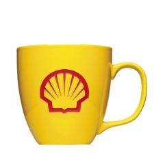 Logotasse mit Hydroglasur und Logogravur aus Porzellan - Shell Form 151