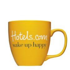 Logotasse für Hotels.com bedruckt und graviert - Mahlwerck Porzellan