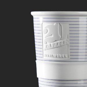 Form 345, Coffee2Go mit Logo-Gravur und Transferdekor als Werbeartikel