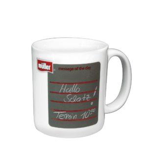 Form 144, Kaffee-Becher mit Schreibfeld-Druck als Werbeartikel