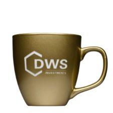 Kaffeetasse mit Matt Metallic Look und Logo - Mahlwerck Porzellan