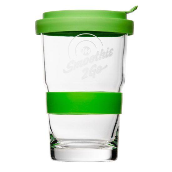 Smoothie Glas mit Deckel - Mahlwerck Werbeartikel