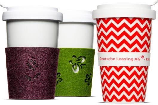 Bedruckte Banderolen und Banderolen aus Filz für den Coffee2Go Becher