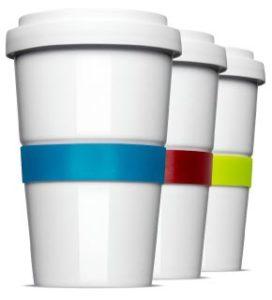 Farbige Banderolen für den Coffee2Go Becher aus Porzellan
