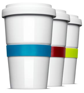 Becher mit Farbiger Banderole - Coffee to Go individuell