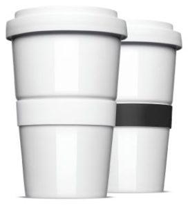 Die Standard Banderole in weiß und schwarz für den originalen Coffee2Go Becher
