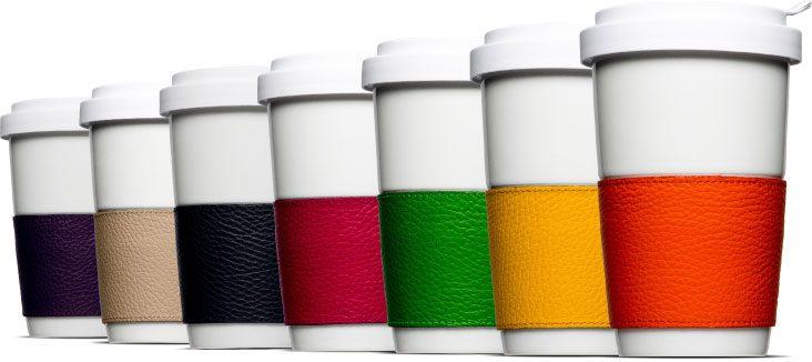 Leder und Porzellan – die schicke Banderole für Coffee2Go aus Porzellan