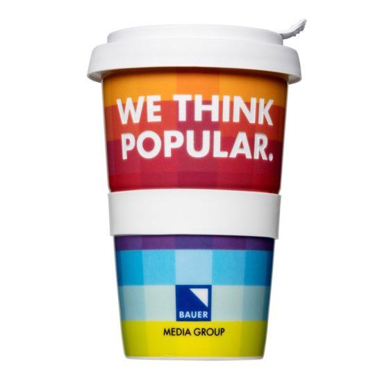 Coffee to go Becher farbenfroh mit Logo - Mahlwerck Porzellan