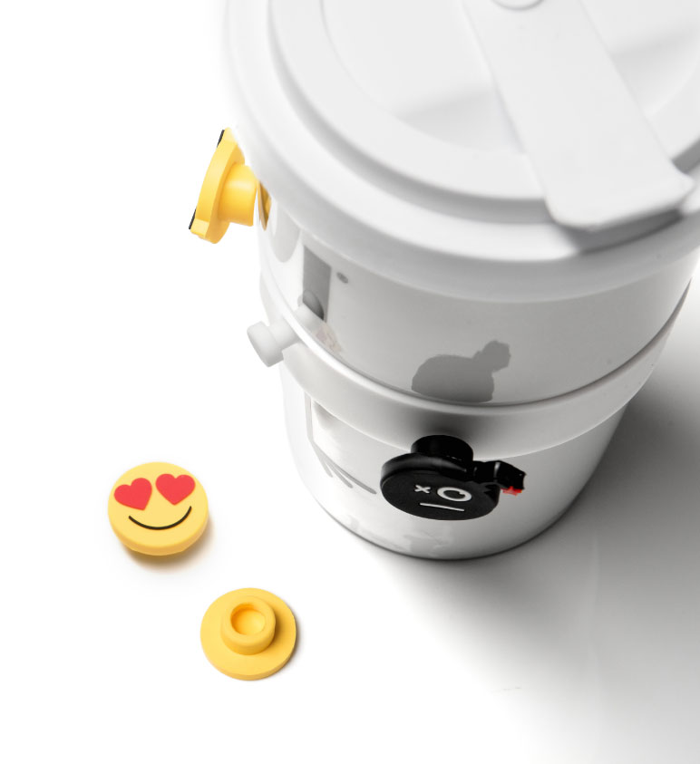 Smileys als Emoji Banderole für den Coffee2Go Becher