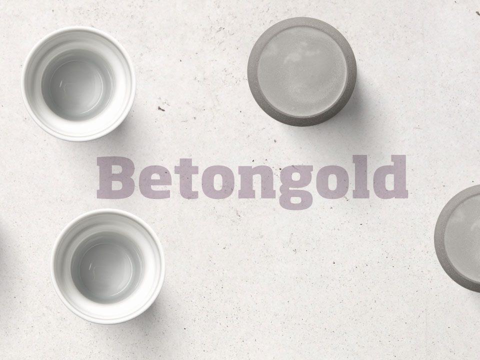 Betongold, ein Materialmix aus Beton und Porzellan