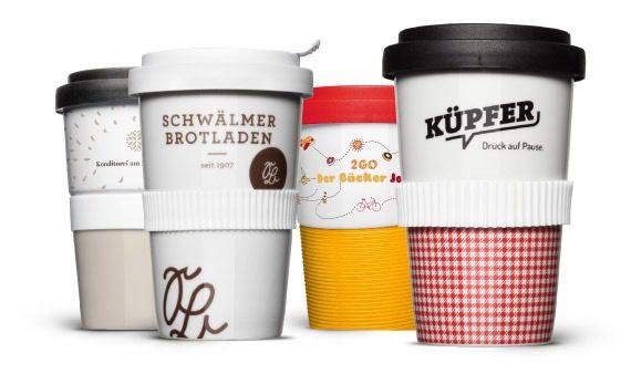 Bedruckte Coffee-to-go Becher als Mehrweg Lösung aus Porzellan