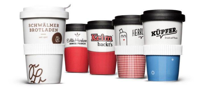 Bedruckt und graviert! Coffee-to-go Mehrwegbecher aus Porzellan für Bäckereien