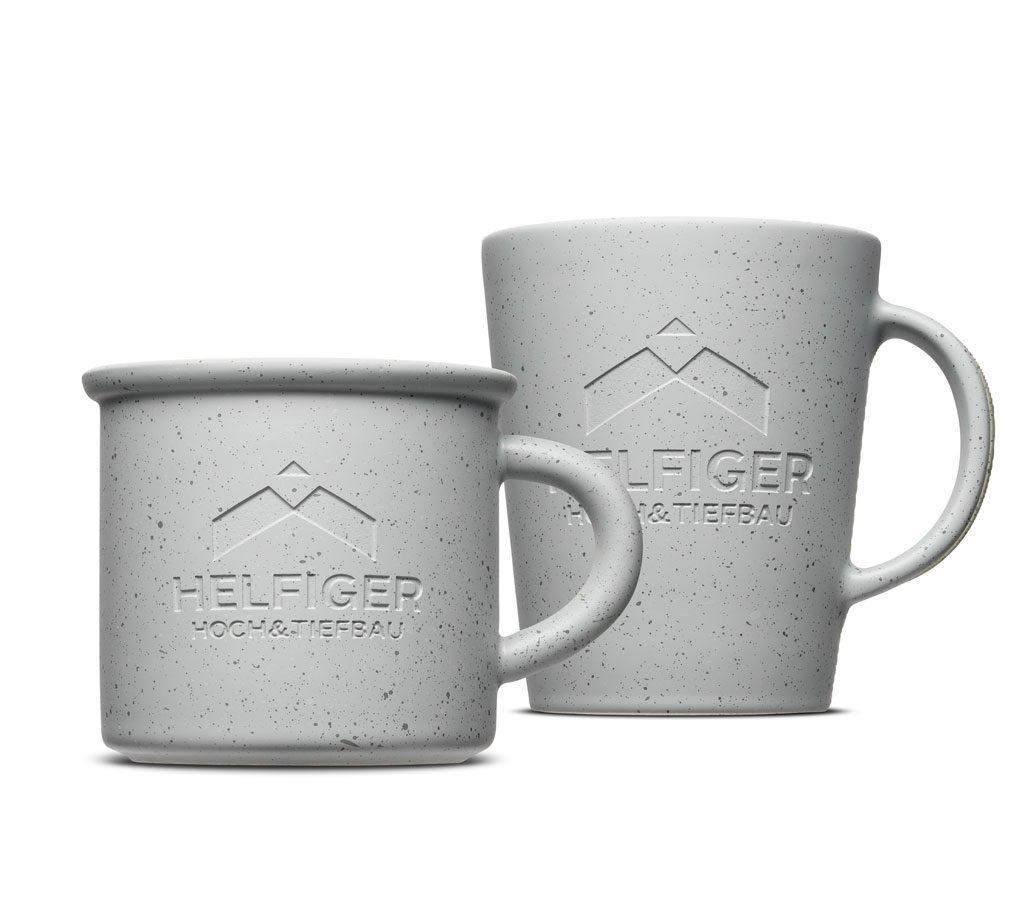 Tassen mit Betonoberfläche aus Porzellan - Cooler Look für Werbetassen