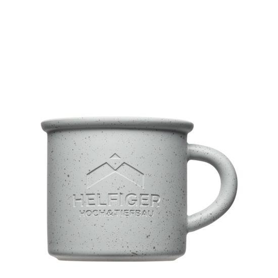 Vintage Tassen mit Beton Optik und Logo - Mahlwerck Porzellan