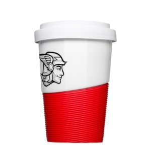 Druck auf Form 467 Coffee2Go Wave mit roter Banderole von Mahlwerck Porzellan