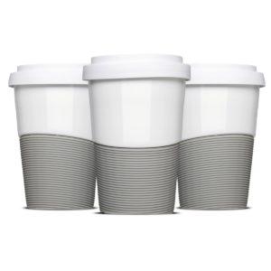 Coffee2Go Wave mit Banderolen in Standardfarbe Grau von Mahlwerck Porzellan