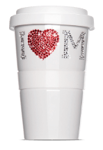 Coffee mug with Svarowski crystals - Coffee to Go