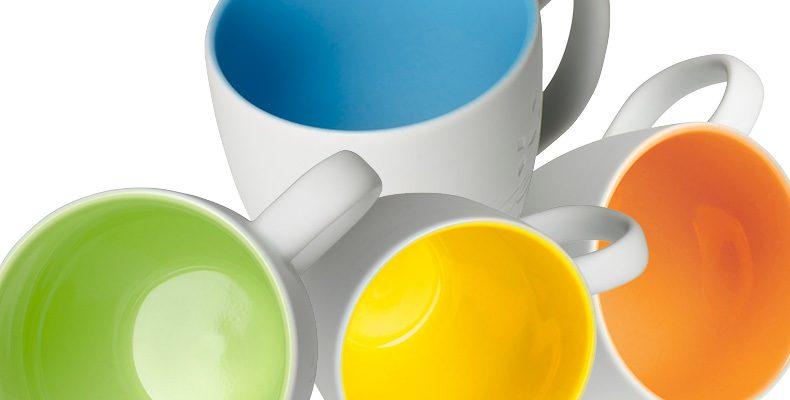Kaffeetassen mit keramischer Glasur innen - Gruppenbild