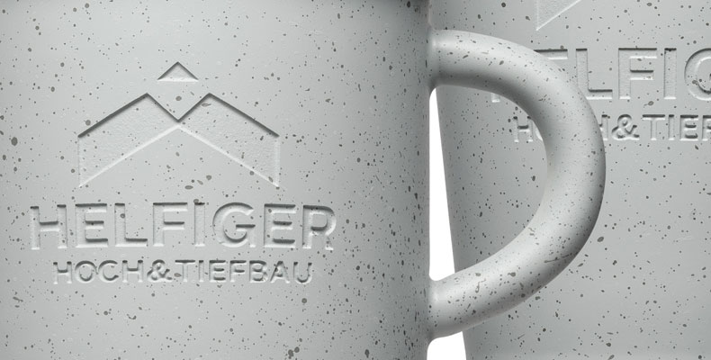 Stone & concrete look for promotional items, cups and mugs - Mahlwerck porcelain