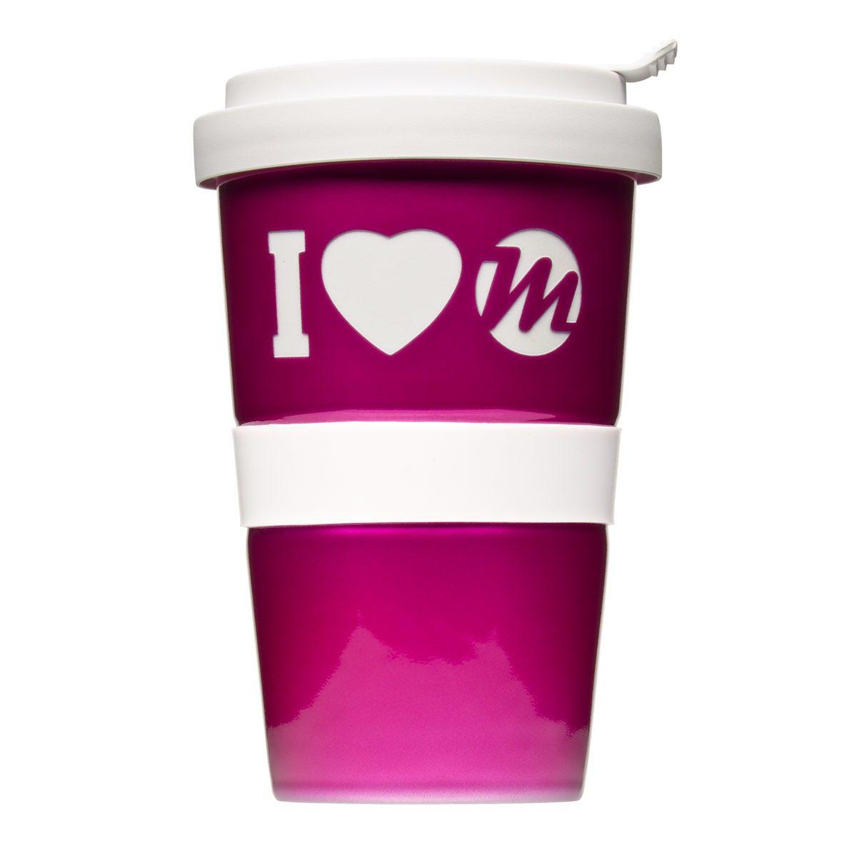 Coffee to Go mug with logo and Metalli look - Mahlwerck porcelain