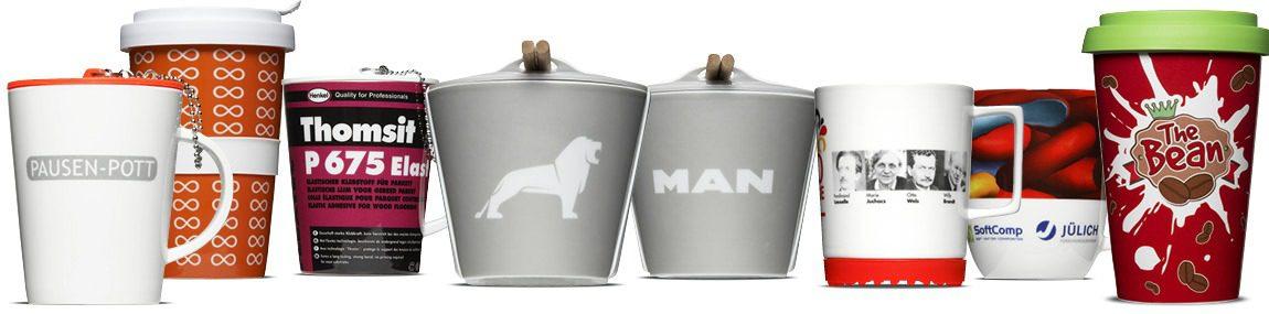 Werbeporzellan Referenzen - bedruckte Tassen & Becher für namhafte Unternehmen