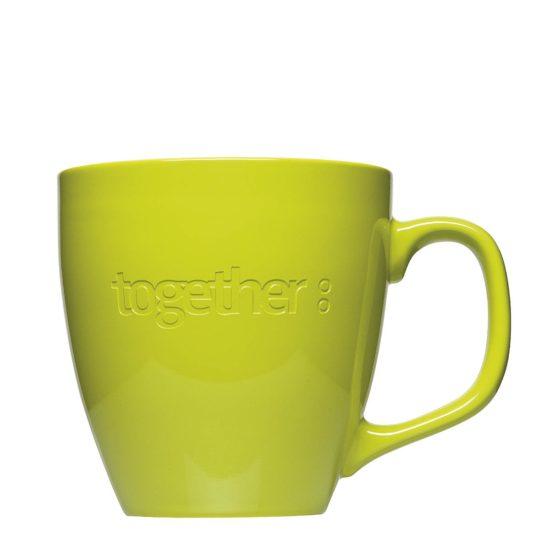 Dezent aber auffallende Tasse mit Hydroglasur und Blindprägung
