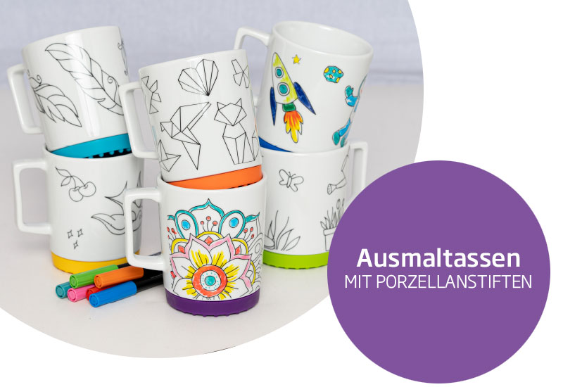 Painting cups with porcelain pencils - Mahlwerck porcelain