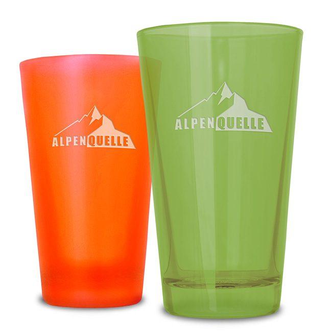 Gläser als Werbeartikel mit Gravur und Glasur - Mahlwerck Logogläser