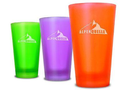 Gläser mit Logo farbig und matt - Werbeartikel von Mahlwerck