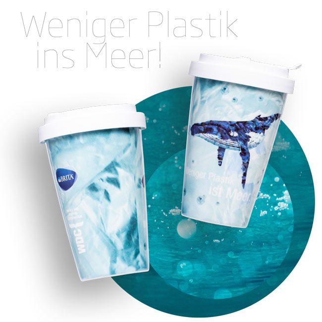 Coffee to go Mehrwegbecher sorgen für weniger Plastik im Meer.