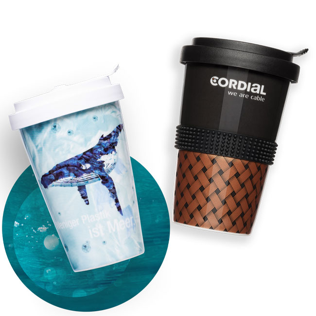 Have reusable coffee to go cups printed